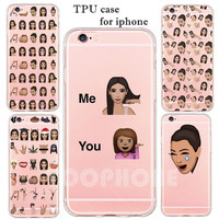 Trend Kim Kardashian Emoji Cover Soft TPU Clear Ultra Thin Phone Case For iphone SE 5s 6 6s 6Plus Protective Funny Girl Pattern