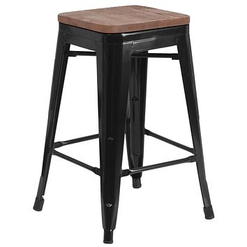 Textured Wood Seat With Stackable Industrial Style Modern Backless Stool