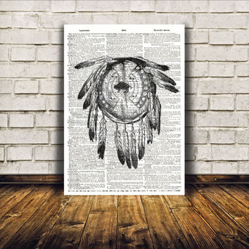 Native American poster Dream catcher print Tribal wall art