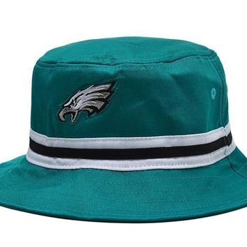 PEAPON Philadelphia Eagles Full Leather Bucket Hats Green