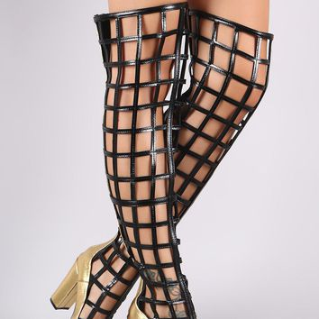 Metallic Caged Chunky Heeled Over-The-Knee Boots