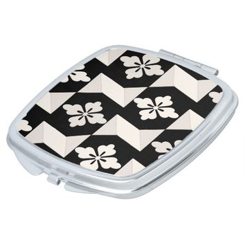 Black White Tiles Compact Mirror