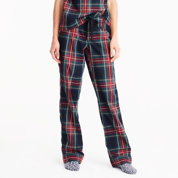 Cotton poplin pajama pant in stewart plaid