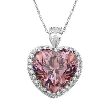 Emotions Sterling Silver Heart Frame Pendant - Made with Swarovski Zirconia (Pink)