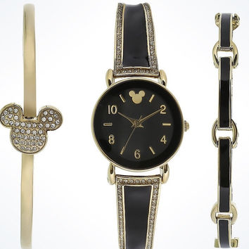 Disney Parks Black Mickey Icon Watch Set with Bracelet by Sutton New with Case