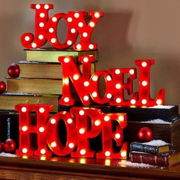 Lighted Holiday Marquee Sign Christmas Red - Mantle Shelf  Home Decor