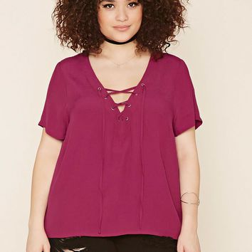 Plus Size Chiffon Lace-Up Top