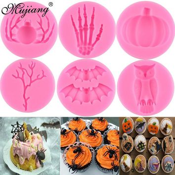 Halloween DIY Skeleton Spider Pumpkin Owl Bat Silicone Molds Fondant Cake Decorating Tools Candy Clay Chocolate Gumpaste Moulds