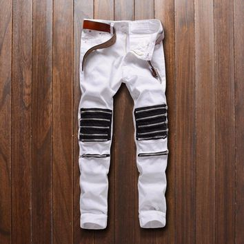 Top quality 2018 nightClub barber Dance dedicated man Multi Zipper white/red knee hole cut bad elastic casual pants jeans men