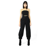 vtg 90s grey WOOL high hi waist structural minimalist futurist cuffed pants S M