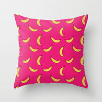 Pink Banana's Throw Pillow by Allyson Johnson