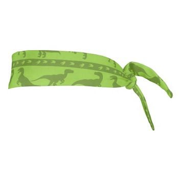 Green Raptor Pattern Tie Headband