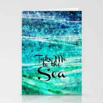 TAKE ME TO THE SEA - Typography Teal Turquoise Blue Green Underwater Adventure Ocean Waves Bubbles Stationery Cards by EbiEmporium