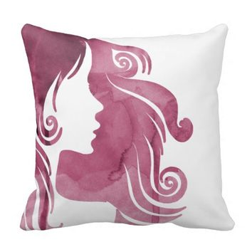 Watercolor Silhouette Champagne Modern Pillow