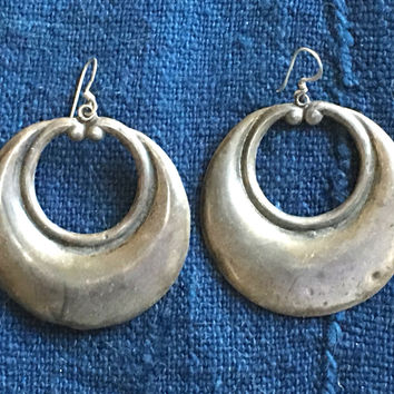 Rustic Mexican Silver Hoop Earrings Pierced