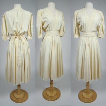 1980's creme beige silk dress Albert Capraro short sleeve shirt waist jumper w long full A line skirt matching waist tie fit and flare