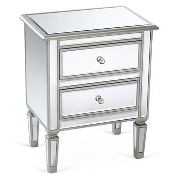 Damon Mirrored Nightstand, Silver, Nightstands
