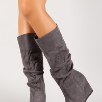 Slouchy Suede Mid Calf Wedge Boot