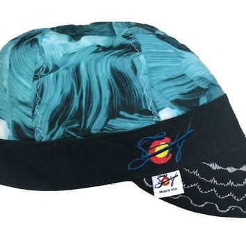 Teal & Black Paint Strokes Embroidered Hybrid Welding Cap