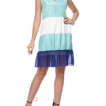 Streetstyle  Casual V-Neck Color Block Striped Chiffon Skater Dress
