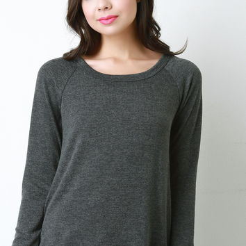Button Up Back Long Sleeve Sweater