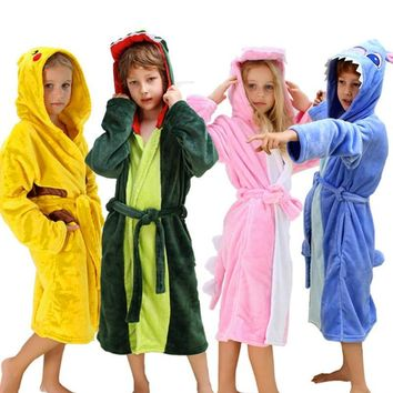 Children Bathrobe for Girls  Pikachu Dinosaur Polyester Kids Boys Bathrobes Beach Towel Enfant Sleepwear Hoodie Bath RobeKawaii Pokemon go  AT_89_9