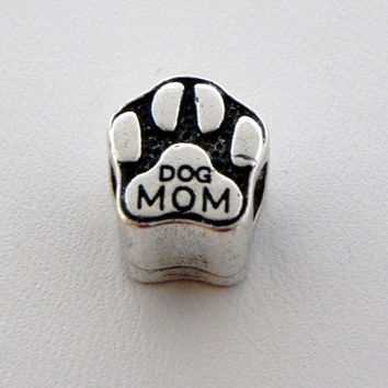 DOG MOM European CHARM,Silver Plate,Charm,Puppy,bead,European,Bracelets,Silver,gift,jewelry,Mother's Day,birthday