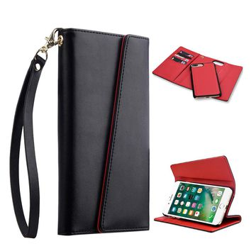 COSMO WRISTLET WALLET WITH DETACHABLE MAGNETIC SNAP-ON CASE -BLACK / RED LEATHER