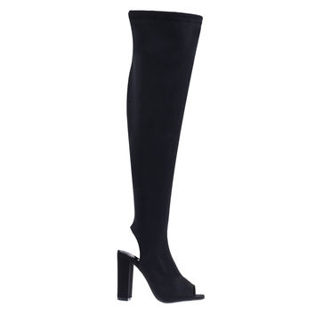 Joann16 Black By Forever Link, Peep Toe Knee High Boot, Chunky Block Heel, Inner Zipper, Elastic Shaft