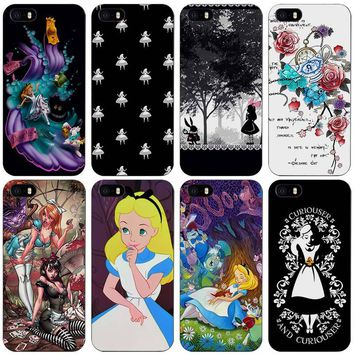 Alice in Wonderland punk Black Plastic Case Cover Shell for iPhone Apple 4 4s 5 5s SE 5c 6 6s 7 Plus