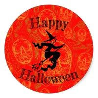 Happy Halloween Witch- Classic Round Sticker