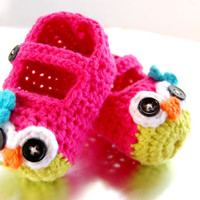 Adorable Crochet Mary Jane Owl Slippers for Baby ~ Baby Slippers ~ Baby Shoes