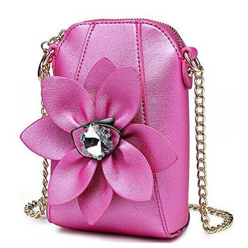 ELEOPTION Girls Wallet Coin Purse Super Cute With 3D Flower Crossbody Handbag Pu Leather Small Messenger Bag Satchel for Women Teen Girls Little Kid Girls as Gift Black