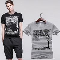 Summer Cotton Print T-shirts Korean Slim Stretch Short Sleeve Round-neck Bottoming Shirt [6544008131]