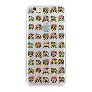 Peek A Boo Flower Crown Monkey Collage Dense Soft Silicone TPU Clear Transparent Phone Back Case Cover for iPhone 5 5s 6 6s 7 7 Plus