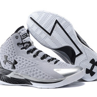 Men's Under Armour Stephen Curry One Grey Black Basketball Shoes