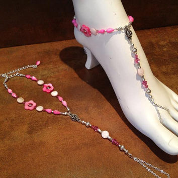 Hot Pink Mother of Pearl Barefoot Sandals by Bodynovelties on Etsy