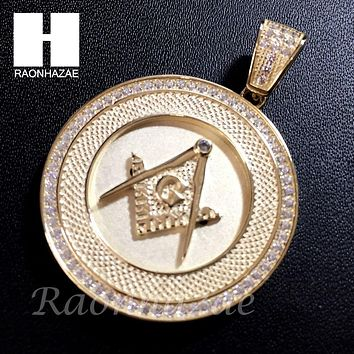 Mens Iced Out Sterling Silver .925 Lab Diamond Freemason Masonic Gold Pendant SS023SG