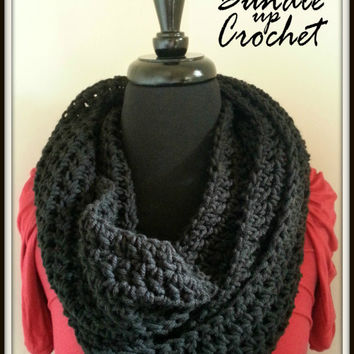Crochet Infinity Scarf Warm Black Accessory for Fall Winter Chunky Knitted Christmas Gift Soft Loose Cozy Pretty Casual