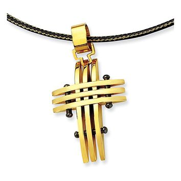 Gold Tone & Black Plated Stainless Steel Grid Cross Necklace - 16 Inch