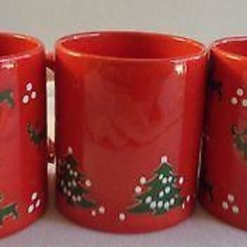 Set of 3 Vintage Waechtersbach Christmas Reindeer Christmas Tree Mugs
