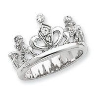 IceCarats Designer Jewelry Size 6 Sterling Silver Cz Crown Ring