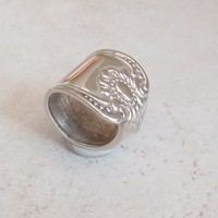 Spoon Ring Large Heavy Wide Size 8 with Sunflower Vintage