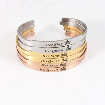 Romantic Lover Couple Bracelets Stainless Steel Bangle Her King His Queen Customized Engraved Mantra Bracelet Women Men Jewelry