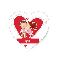 Young Love Heart Sticker