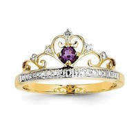 14k Yellow Gold Diamond And Round Amethyst Crown Princess Ring