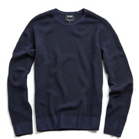 Italian Garment Dyed Merino Wool Ribbed Sweater in Navy