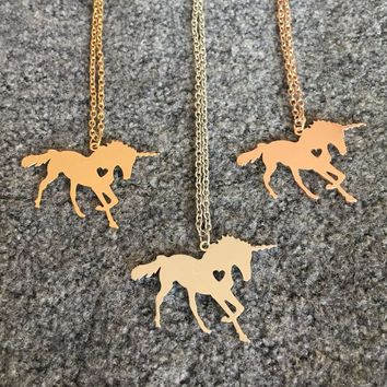 Unicorn Horse unicornio Necklace Magical Licorne Jewelry Engrave Name/Letters Free Best Gift for Girls Drop Shipping YP6080