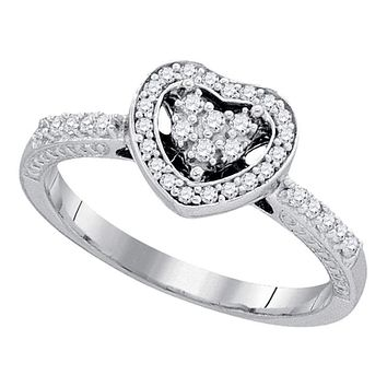10kt White Gold Women's Round Diamond Simple Heart Halo Ring 1/4 Cttw - FREE Shipping (US/CAN)