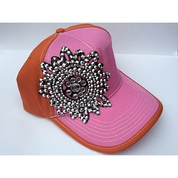 Sequin and Rhinestone Hat - Pink and Orange